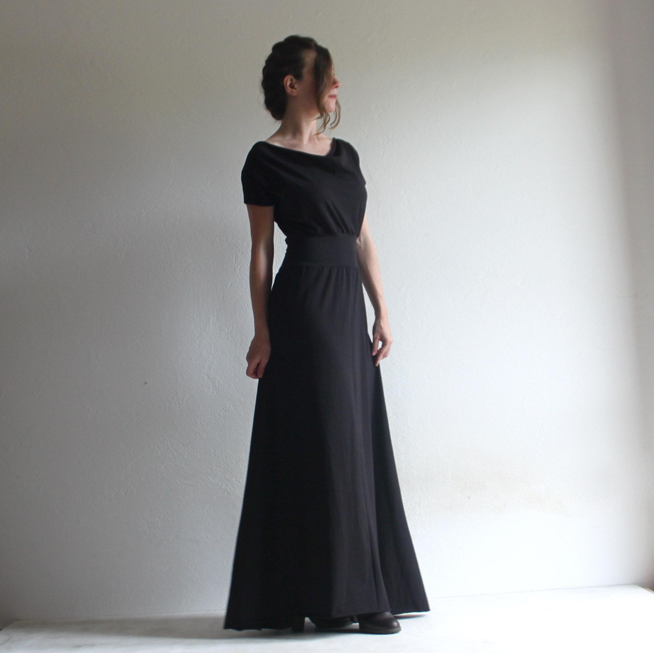 Long Dress Black Dress Draped Dress Winter Dress Short Sleeve Dress Draped Cowl Dress Pagan Dress Plus Size Clothing Petite Clothing Loretree